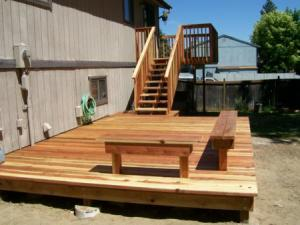 stained and installed deck in Concord